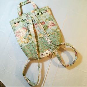 Quilted Floral Print Backpack Purse